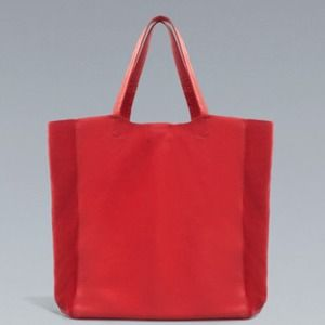 ZARA Red 100% Cow Leather Handbag Tote