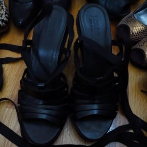 J crew black leather ballerina wedge