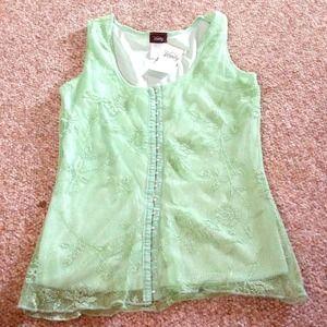 NWT Green Vanity Blouse