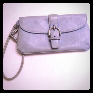 Periwinkle Leather Coach Clutch