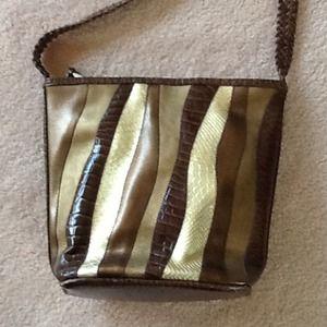 Gold/brown metallic purse