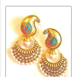 Gold & Turquoise with Pearls-Paisley Drop Earrings