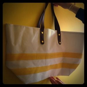 Neiman Marcus yellow and white striped tote bag