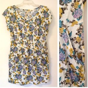 ❌BUNDLED❌ Crm cotton dress | mustard+purple floral