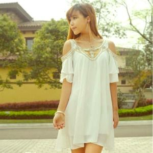 Dresses & Skirts - White beaded chiffon dress