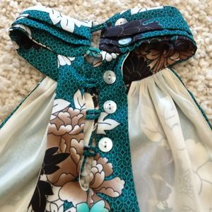 Beautiful teal floral bubble dress or tunic
