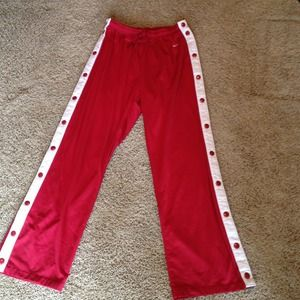 Red Nike snap-up pants!!