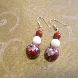 Cloisonné, ivory dangle earrings