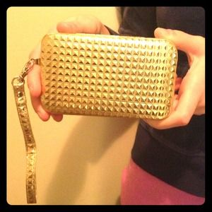 Clutches & Wallets - Pretty Gold Phone Clutch Wristlet
