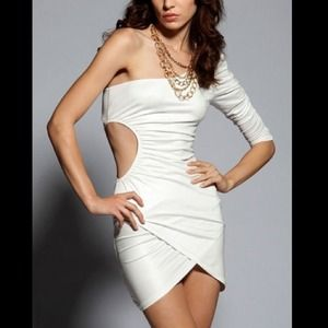 Sexy One Shoulder Sleeve White Mini Dress