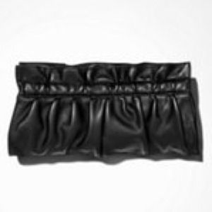 Faux leather ruched clutch