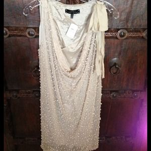 Robert Rodriguez cream pearl dress