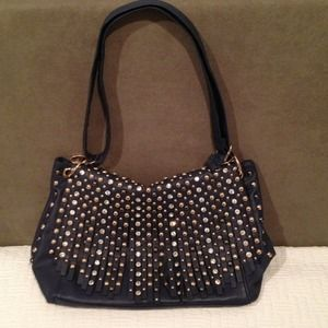 Handbags - Navy Blue studded tassle handbag