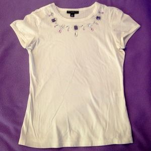 "Designer Tee with Jeweled ""Necklace"" Collar"