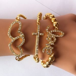 Gold Sparkly Love Bracelet#4