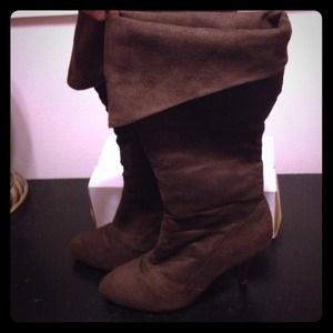 Brown suede and leather boots
