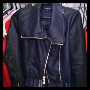Leather jacket with gold trim.