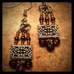 Brown /copper chandelier earrings