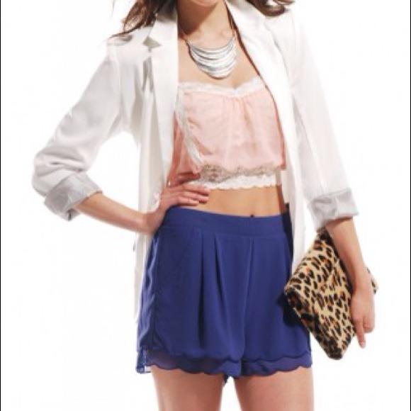 Shop Akira Shorts - 🚫SOLD🚫Scallop Hem Play Shorts in Cobalt