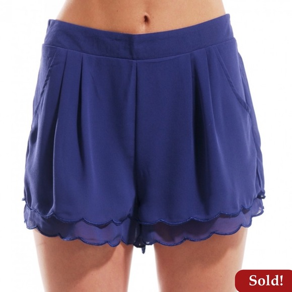 Shop Akira Pants - 🚫SOLD🚫Scallop Hem Play Shorts in Cobalt
