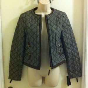 ZARA Quilted Tweed Moto Style Jacket