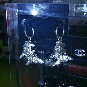 Jewelry - Crystal butterfly cc hoop earrings
