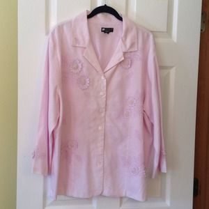 Embroider/pearls Pink Shirt