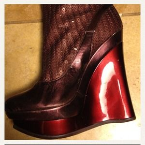 Shoes - Knee High Burgundy Sequin Platform Boots...