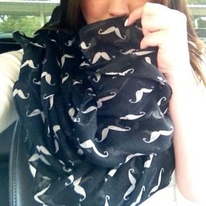 Accessories - Black Mustache Scarf