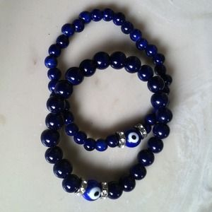 Handmade, Blue Evil Eye Stretch Bracelet