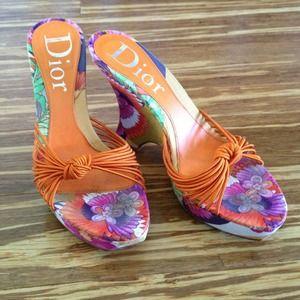 Dior Shoes - Dior orange wedge sandal