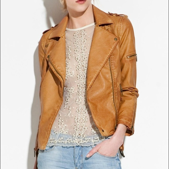 Light Brown Faux Leather Jacket - JacketIn