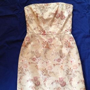 Size 4 Gold  floral strapless dress