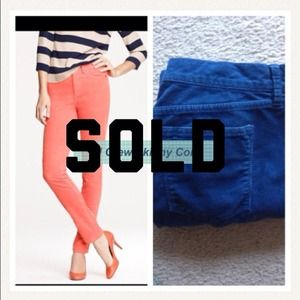 J. Crew Pants - SOld Jcrew high rise skinny cord in blue