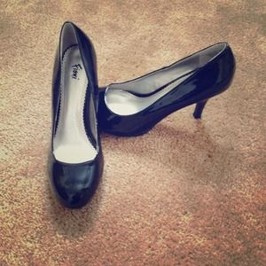 Black patent high heels