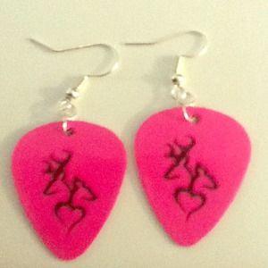 Handmade guitar pick earrings