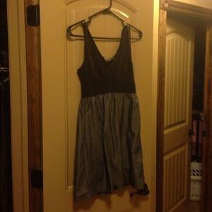 Half jersey half denim dress