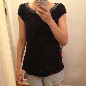 H&M black sequin collar tee top t shirt size xs