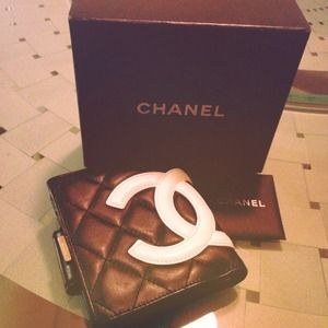 100% Auth CHANEL Cambon French Wallet Black NWT