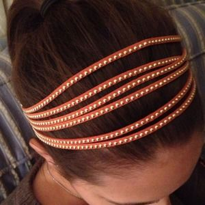 Orange Faux Suede Stretch Headband with Gold Dots