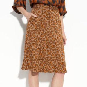 DESIGNER $356 TUCKER Leopard Print Skirt Size L