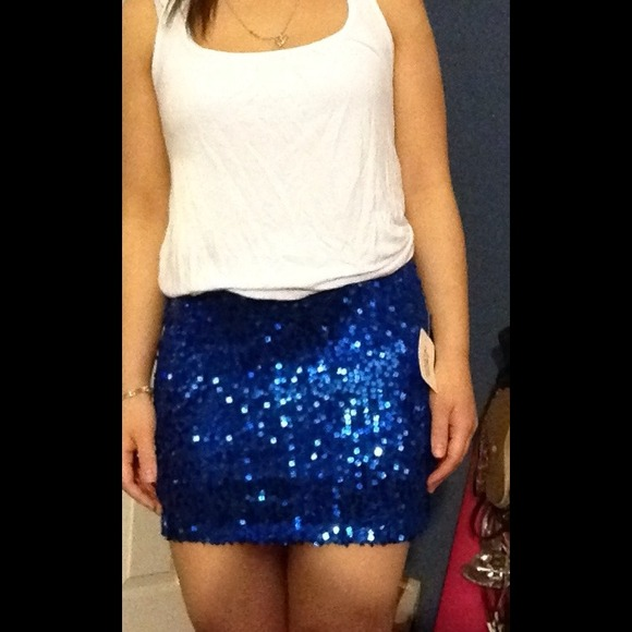 55% off Forever 21 Dresses & Skirts - Blue sequin skirt from ...