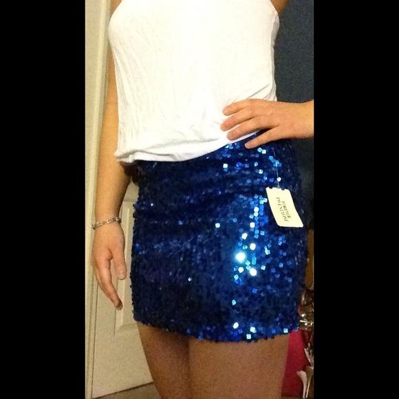 55% off Forever 21 Dresses & Skirts - Blue sequin skirt from ...
