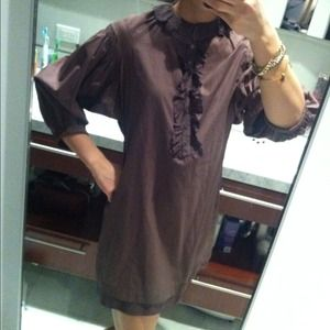 Ruffle front shirt dress