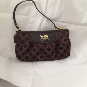 Coach Clutches & Wallets - NWT Coach large wristlet, brown and gold.