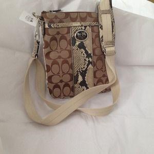 Coach Handbags - NWT Coach khaki and snakeskin cross body bag