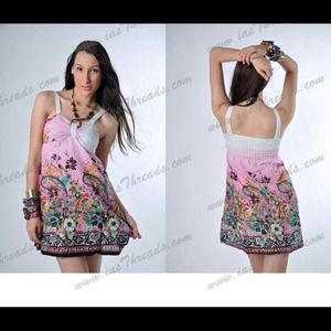 Sexy Floral Summer Casual Mini Dress Size S