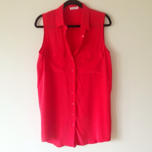 NWOT Equipment Red Silk Sleeveless Top