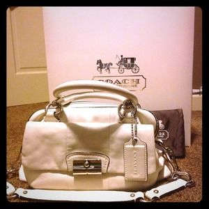 Coach Kristin white leather satchel