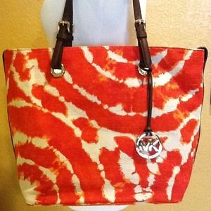 Michael Kors Jet Set Persimmon Grab Bag Canvas NEW